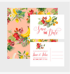 wedding invitation template set tropical fruits vector image vector image