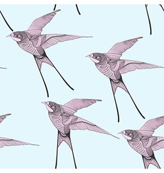 Zentangle stylized swallow seamless pattern Hand vector image vector image