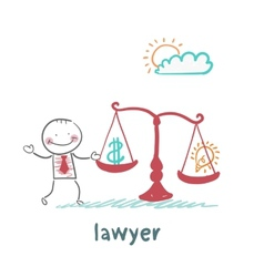Attorney weighs in the balance money and the idea vector