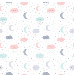 cute hand drawn seamless pattern with smiling vector image
