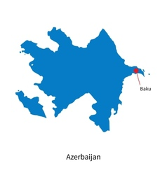 Detailed map of Azerbaijan and capital city Baku vector image vector image