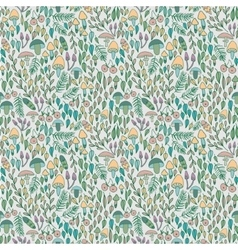 Forest seamless pattern mushrooms berries and vector image vector image