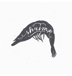 Hand drawn srimp hipster silhouette Handwritten vector image vector image
