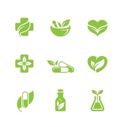 Herbal medicine icons set vector