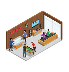home game club interior isometric composition vector image vector image