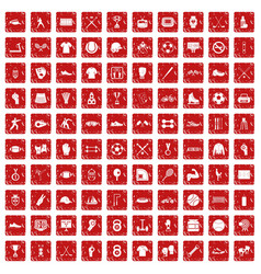 100 athlete icons set grunge red vector