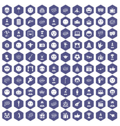 100 emotion icons hexagon purple vector image