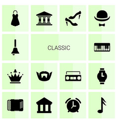 14 classic icons vector