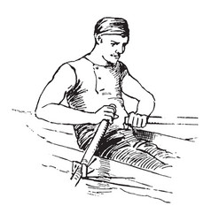 A man rowing boat vintage vector