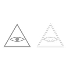 All seeing eye symbol the grey set icon vector
