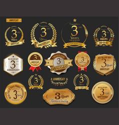 anniversary golden laurel wreath and badges 3 vector image