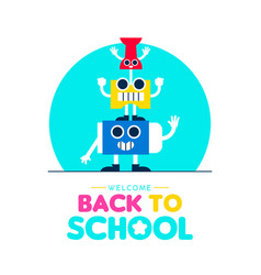 back to school funny art supplies friends design vector image
