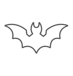 Bat thin line icon animal and halloween dracula vector