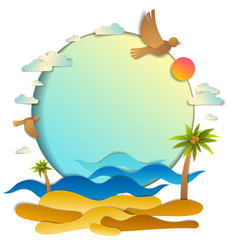 Beach with palms sea waves perfect seascape birds vector