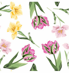 Beautiful botanical pattern with many tulips vector