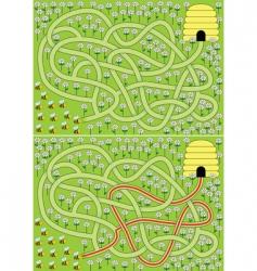 Bees maze vector