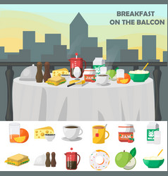 Breakfast on balcon concept vector