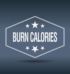 Burn calories hexagonal white vintage retro style vector