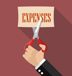 Businessman cutting expenses paper vector