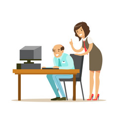 businessmen and businesswoman working together in vector image