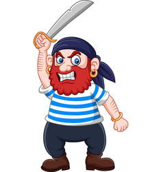 cartoon pirate holding a sword vector image