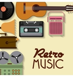 Cassette vinyl guitar radio gramaphone icon vector image
