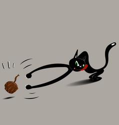 cat with a ball vector image