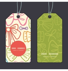 colorful bows vertical round frame pattern tags vector image