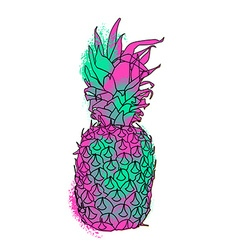 Colorful paint summer pineapple vector image