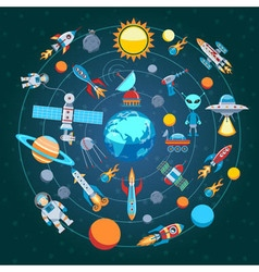 Composition Of Space Icons vector image