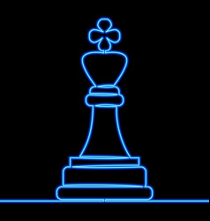continuous line drawing chess king neon concept vector image