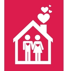 Couple house in love sign design vector