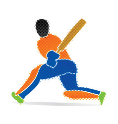 Cricket player hitting big shoot concept design vector