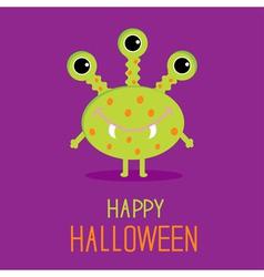 Cute cartoon green monster Happy Halloween card vector