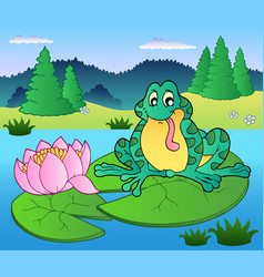 cute frog sitting on water lily vector image
