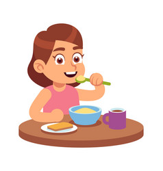 Cute girl eating hungry toddler sits vector