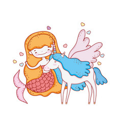 cute mermaid with unicorn characters vector image