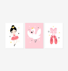 Cute posters with ballet girl swan and shoes vector