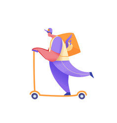 delivery courier on scooter with parcel vector image
