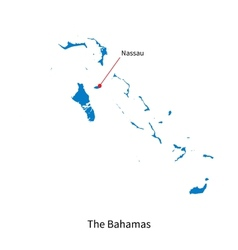 Detailed map of Bahamas and capital city Nassau vector image