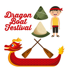 Dragon boat festival chinese man rice dumpling vector