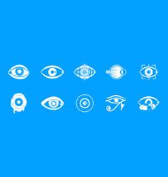 eyes icon blue set vector image