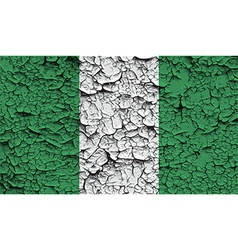 Flag of Nigeria with old texture vector image
