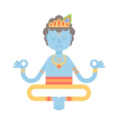 Flat meditating cartoon Krishna character vector