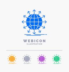 Globe network arrow news worldwide 5 color glyph vector