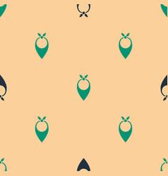 Green and black cowboy bandana icon isolated vector