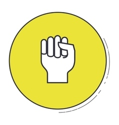 Hand gesture inside green button design vector