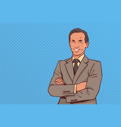 happy businessman folded hands pose business man vector image
