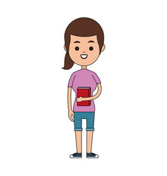 happy girl holding book icon image vector image