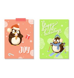Happy holidays and joy card with penguin vector